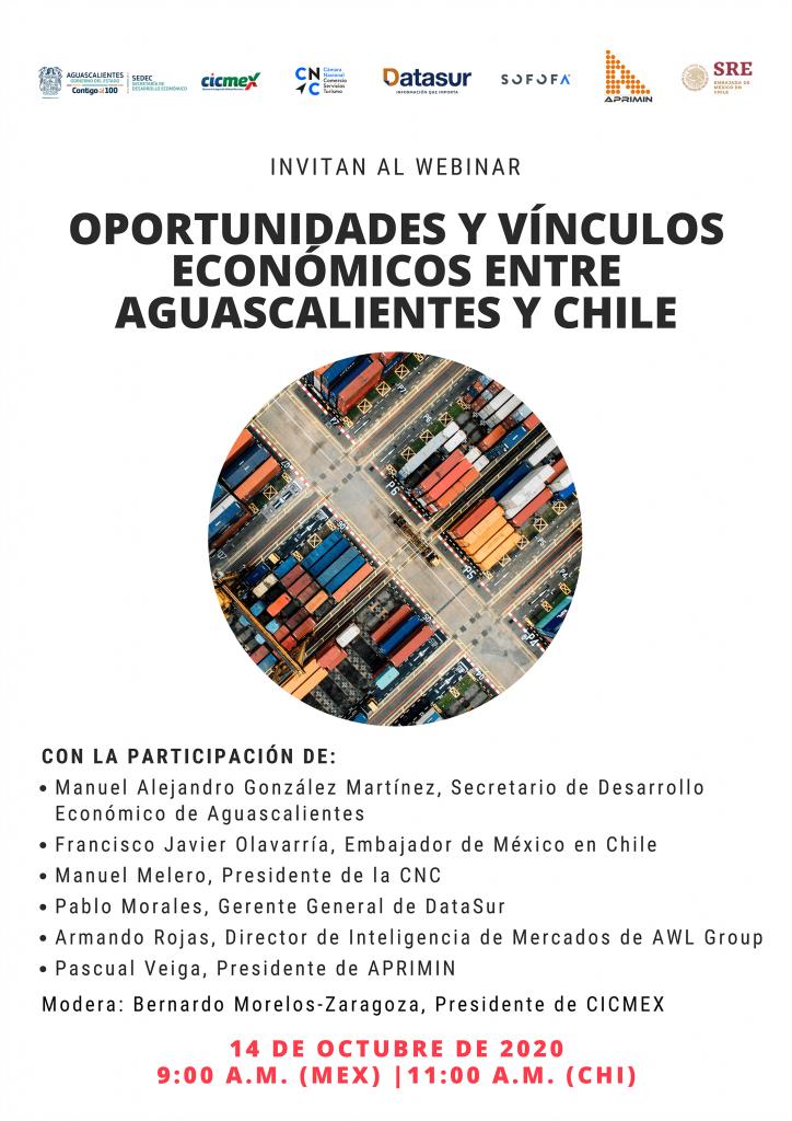 """Webinar: """"Oportunidades y vínculos económicos entre Aguas calientes y Chile"""""""