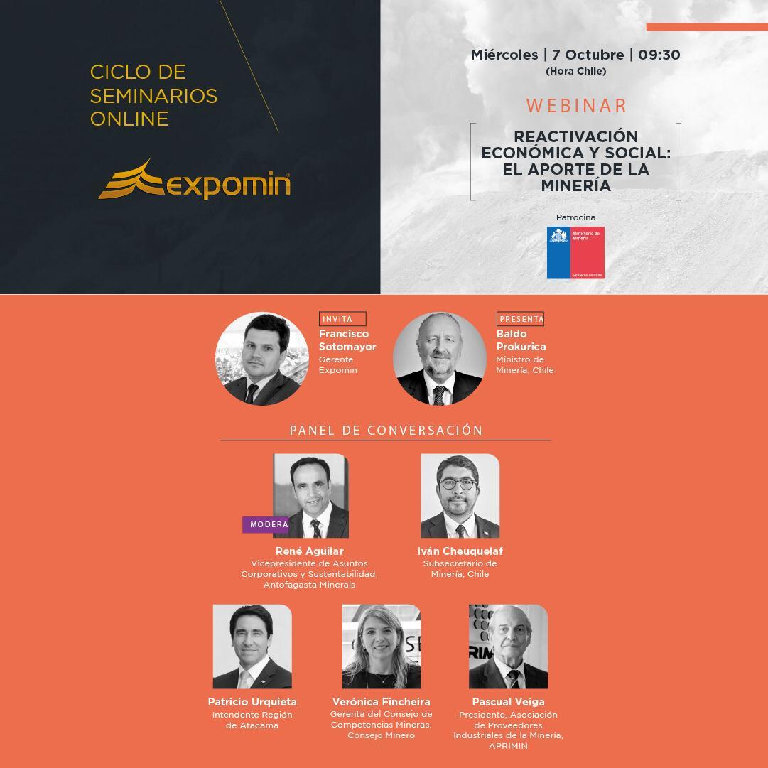 """Webinar Expomin """"REACTIVACIÓN ECONÓMICA Y SOCIAL: EL APORTE DE LA MINERÍA"""" @ Registro Online"""